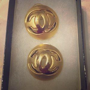 Classic Gold Tone Chanel Pierced Earrings